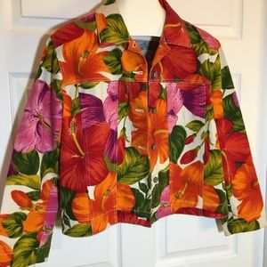 Chico's Design Floral Denim Jacket Size 2